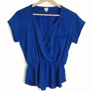 Aritzia | Wilfred Cobalt Royal Blue Elastic Blouse